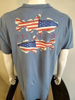 REEL LIFE Mens T-Shirt, SALT Water Fishing, Boating, Patriot