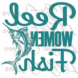 Reel Women Fish Vinyl Decal Sticker with Sail Fish Offshore