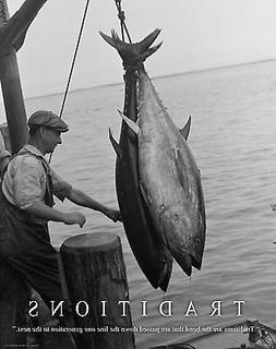 Salt Water Tuna Fishing Motivational Poster Art Print Tackle