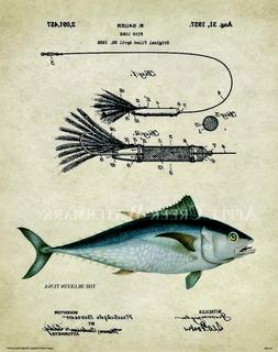 Saltwater Bluefin Tuna Fishing Patent Print Lures Reels Sush