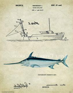 Saltwater Swordfish Tuna Fishing Patent Poster Art Print Lur